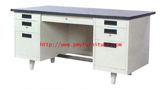 pmy7-4 โต๊ะทำงานเหล็ก 7 ลิ้นชัก แบบ หน้าลายไม้ ขนาด 4.5 ฟุต