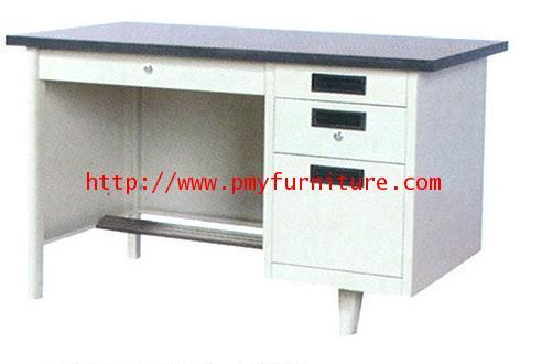 pmy7-2 โต๊ะทำงาน 4 ลิ้นชัก หน้าลายไม้ ขนาด 3 ฟุต