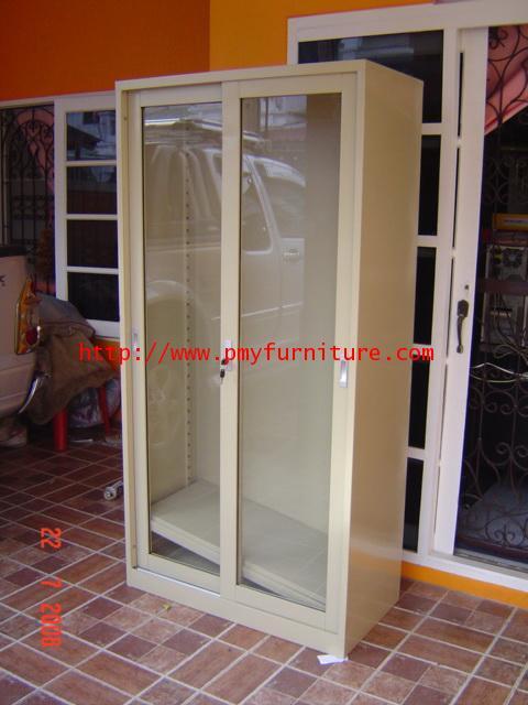 pmy8-12 ตู้บานเลือนกระจกสูง 3 แผ่นชั้นวาง
