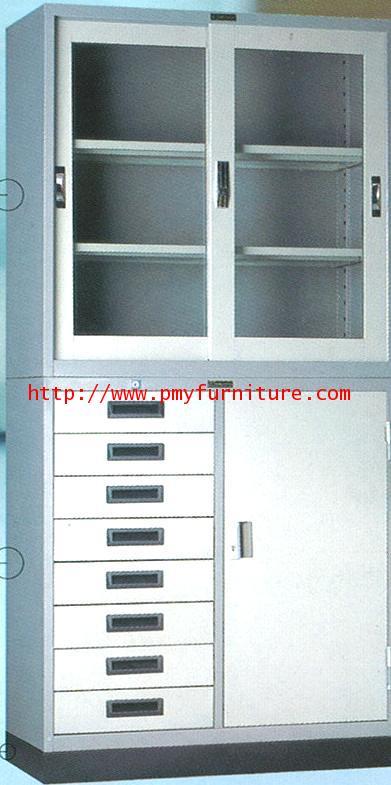 pmy8-16 ตู้บานเลื่อนกระจก+ตู้เหล็ก 8 ลิ้นชัก ขนาด 3 ฟุต