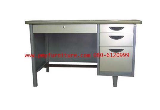 pmy7- 1โต๊ะทำงาน 4 ลิ้นชักหน้ายาง ขนาด 4.5 ฟุต