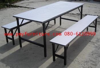 pmy5-6 ชุดโต๊ะโรงอาหาร หน้าโฟเมก้าขาว ขาพับ ขาเหล็กพ่นสีดำ