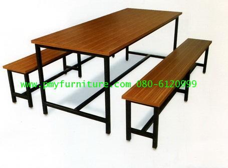 pmy5-10 ชุดโต๊ะโรงอาหาร หน้าโต๊ะเคลือบโฟเมก้าลายไม้
