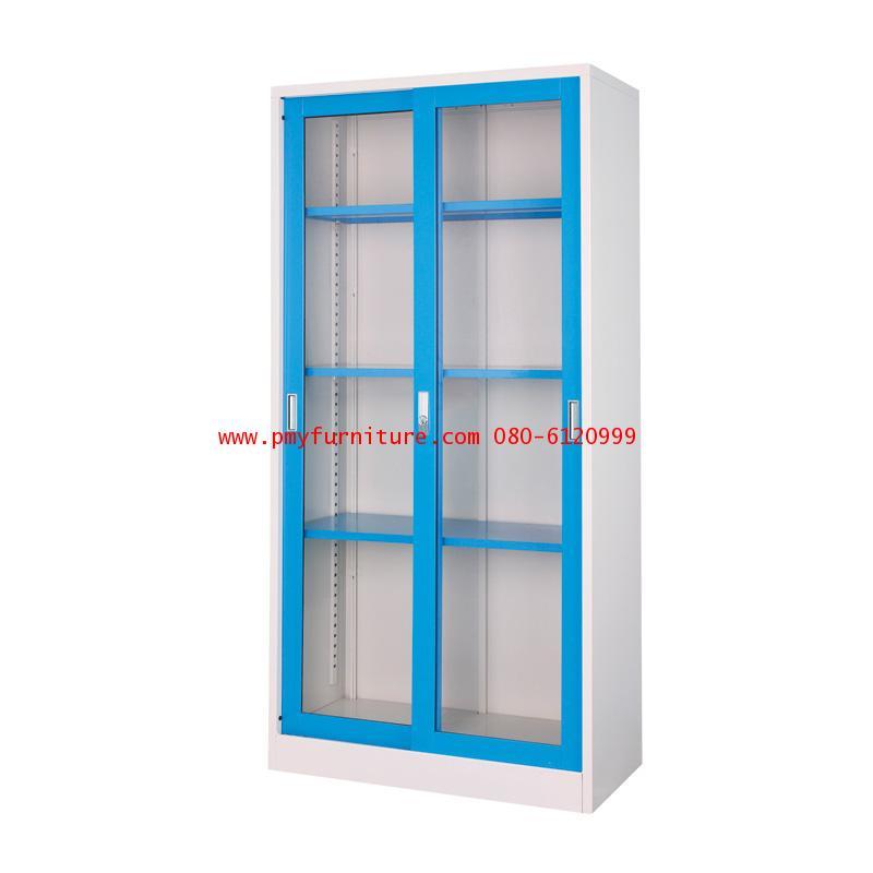 pmy14-2 ตู้บานเลื่อนกระจกทรงสูง สีสัน