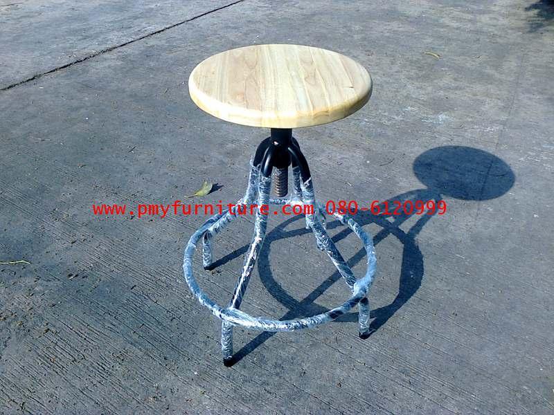pmy4-3 เก้าอี้กลม ห้องปฎิบัติการ หน้าไม้ยาง ขาสุ่ม