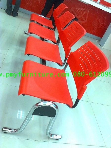 pmy12-2 เก้าอี้แถว ขาชุบปัดเงา เบาะนั่ง POLYPRORYLENE