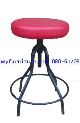 pmy4-6 เก้าอี้กลมห้องปฎิบัติการเบาะหนัง ขาสุ่ม