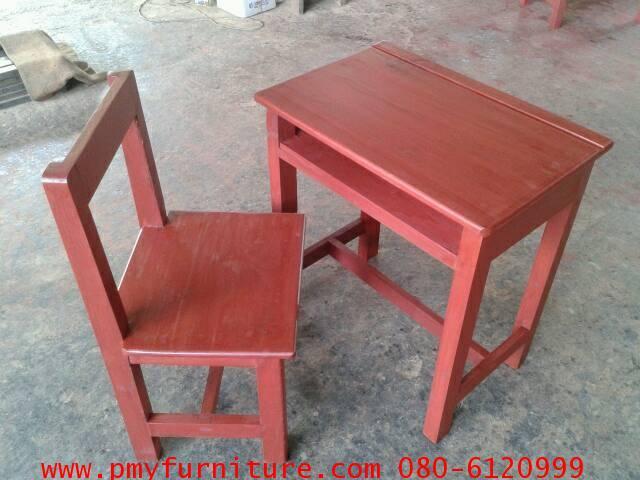 pmy2-6 โต๊ะเก้าอี้นักเรียนไม้เนื้อแข็งทั้งตัว ระดับ ประถมศึกษา