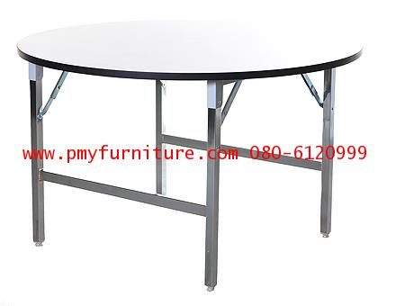 pmy16-12 โต๊ะพับกลมโฟรเมก้าหน้าขาว ขนาด 180X75 ซม.