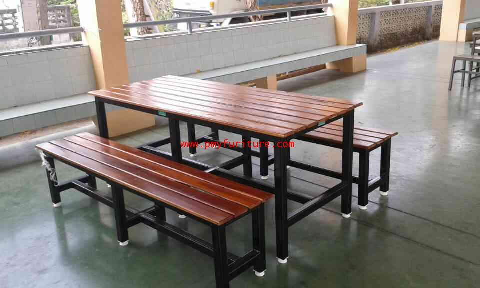 pmy5-19 ชุดโต๊ะโรงอาหาร หน้าไม้สักทองตีระแนง แบบขาตาย ขาเหล็กใหญ่ 2x2 นิ้ว