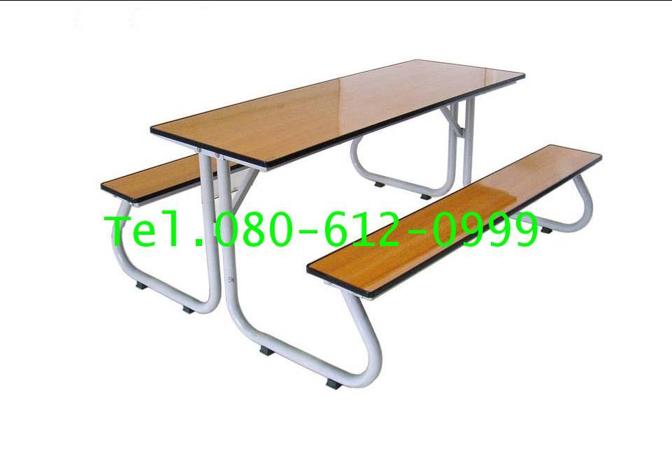 pmy5-24 โต๊ะโรงอาหารขาสมอเรือ หน้าโฟรเมก้าลายไม้ สีบีช