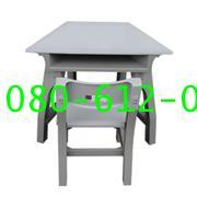 pmy1-10 โต๊ะ-เก้าอี้นักเรียน มอก.ระดับ2(อนุบาล) พลาสติกทั้งตัว แบบสี่เหลี่ยมคางหมู
