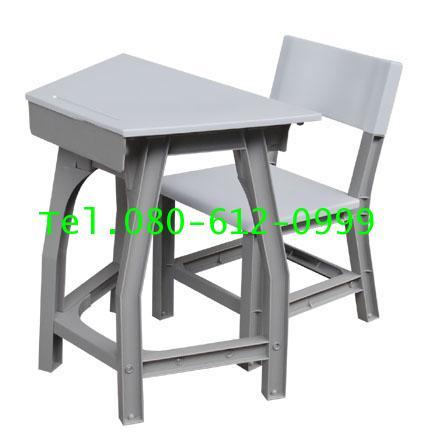 pmy1-11 โต๊ะ-เก้าอี้นักเรียน มอก.ระดับ4(ประถม) พลาสติกทั้งตัว แบบสี่เหลี่ยมคางหมู