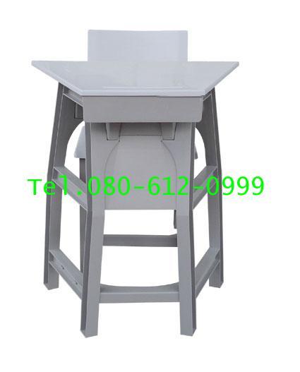pmy1-12 โต๊ะ-เก้าอี้นักเรียน มอก.ระดับ6(มัธยม) พลาสติกทั้งตัว แบบสี่เหลี่ยมคางหมู