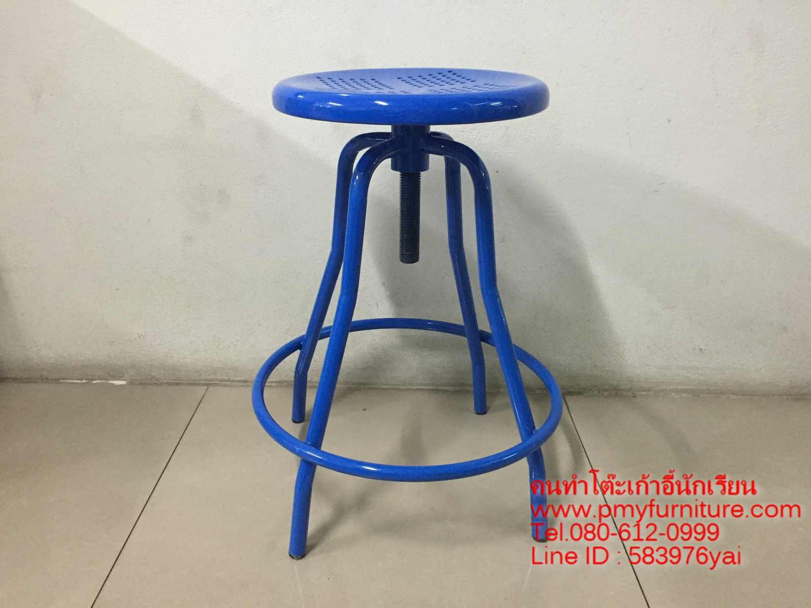 pmy4-13 เก้าอี้กลม ห้องปฎิบัติการ หน้าแป้นเหล็กกลม ขาสุ่ม