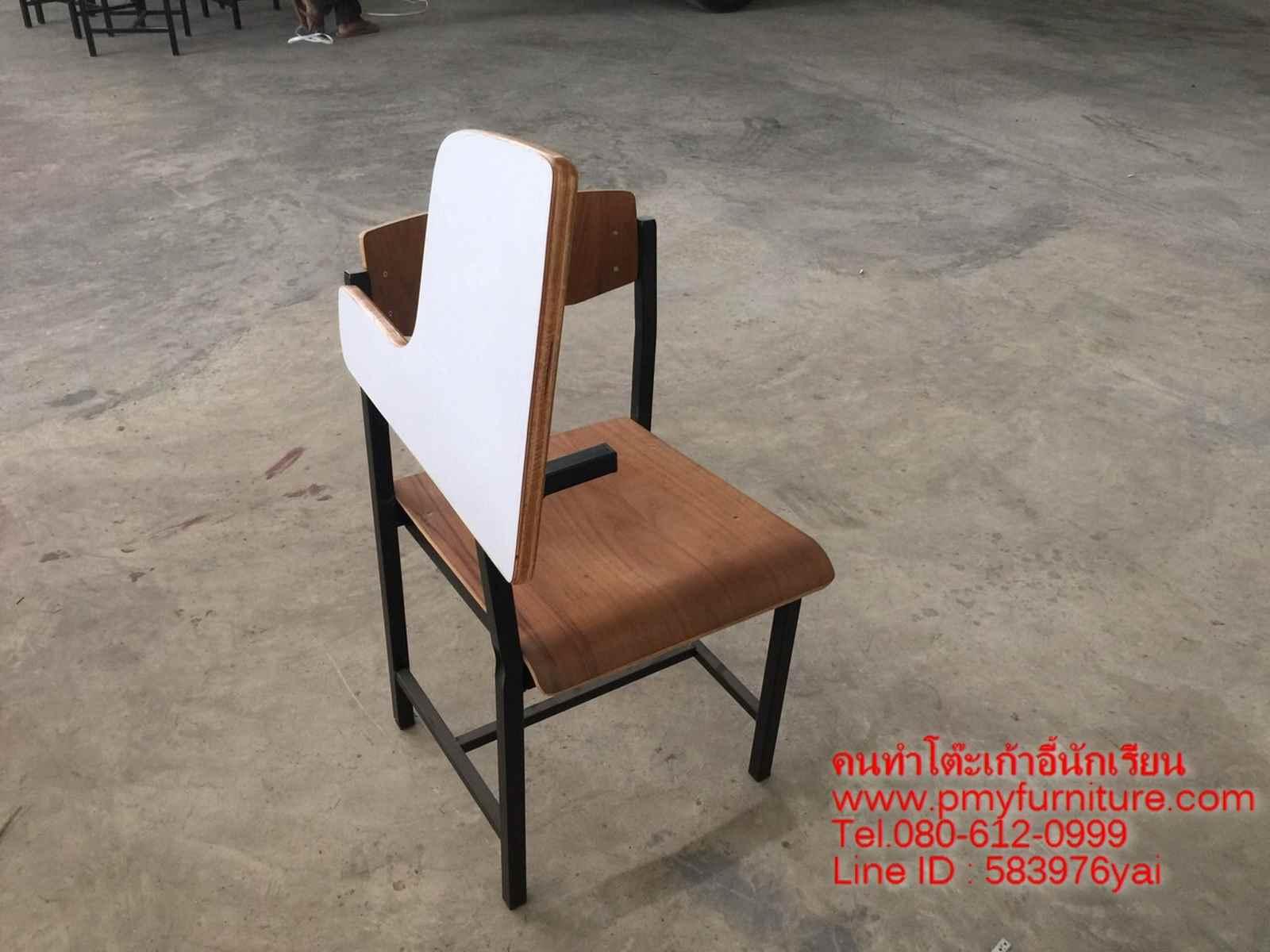 pmy2-27 เก้าอี้เล็คเช่อร์ ก.03 ไม้อัดสักแผ่นเล็คเช่อร์หน้าโฟรเมก้าขาว สามารถพับเปิดปิดได้