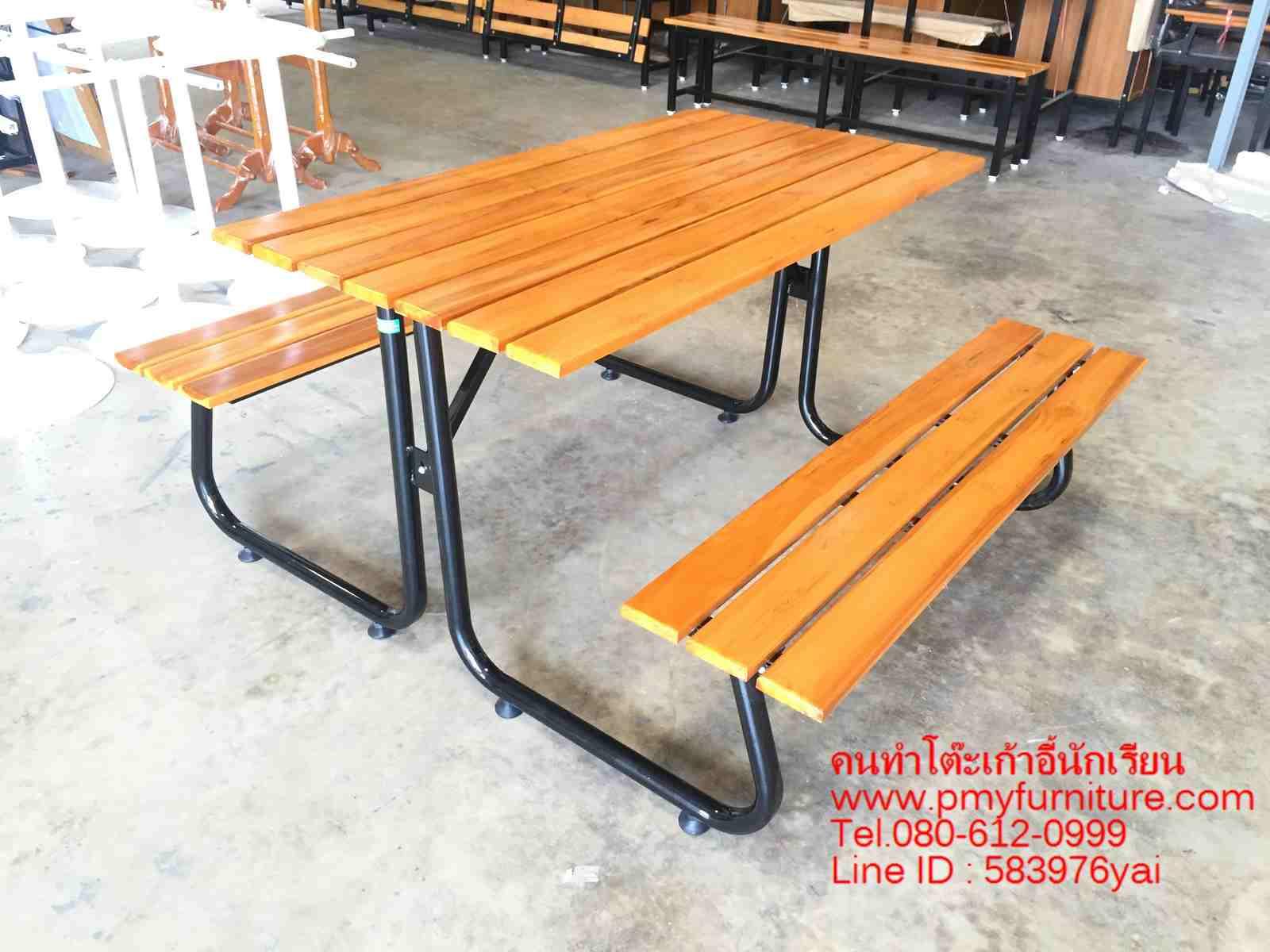 pmy5-28 โต๊ะโรงอาหาร ขาตัว J ขาดำ 120 ซม.