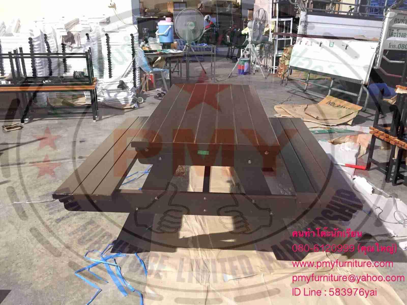 pmy5-30 โต๊ะโรงอาหาร ขาไขว์ไม้ทั้งตัว