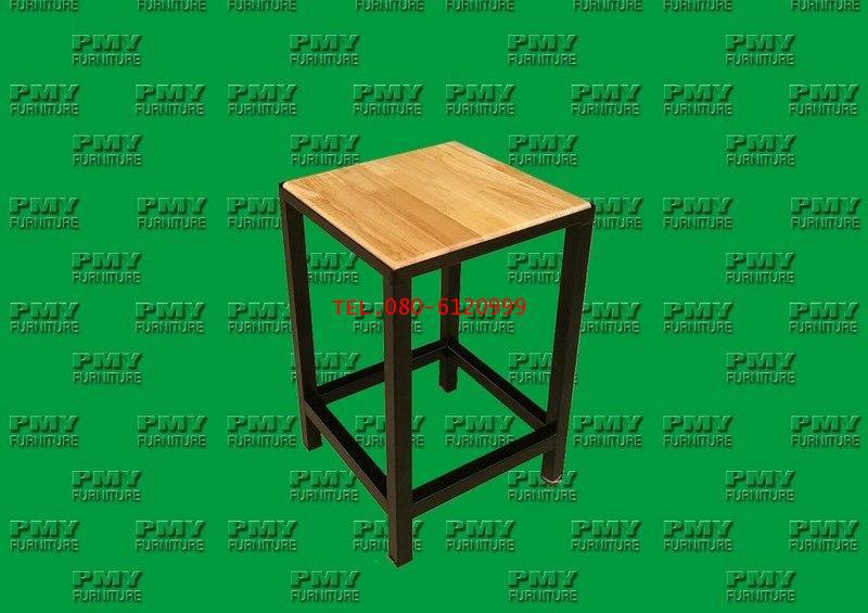 pmy15-1 เก้าอี้เหลี่ยมไม้ยางขาเหล็กตรง 1x1 นิ้ว