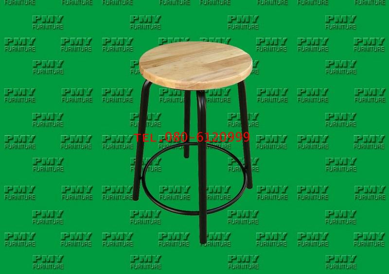 pmy15-2 เก้าอี้กลมไม้ยางขาเหล็กกลม 1 นิ้ว