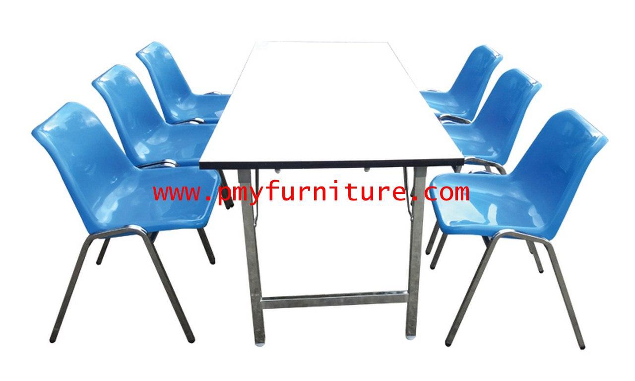 pmy28-3 โต๊ะโรงอาหาร 300 ที่นั่ง โต๊ะพับ+เก้าอี้โพลี่6ตัว