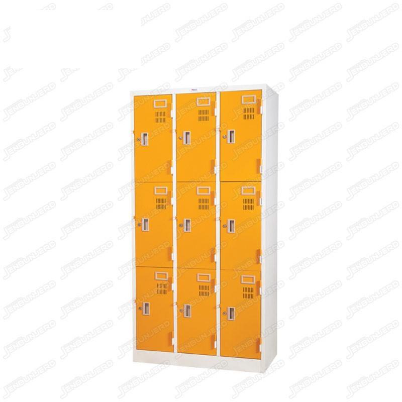 pmy14-8 ตู้ล็อคเกอร์ แบบ 9 บานประตู สีส้ม