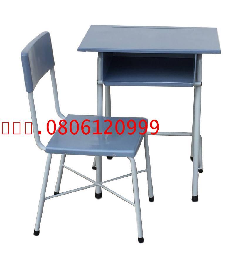 pmy2-24 โต๊ะเก้าอี้นักเรียน สปช.001 พลาสติกขาเหล็กกลมสีเทา ระดับมัธยม