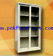 ตู้บานเลือนกระจกสูง 3 แผ่นชั้นวาง kkw4-12