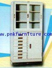 ตู้บานเลื่อนกระจก+ตู้เหล็ก 8 ลิ้นชัก+พร้อมขารองตู้ kkw4-16
