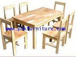 โต๊ะเก้าอี้นักเรียนระดับอนุบาลไม้ยางพาราแบบกลุ่ม 6 คน kkw1-24