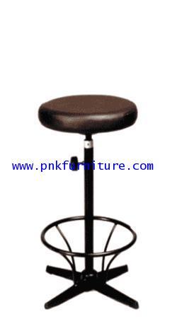 เก้าอี้บาร์กลมหนัง ขาเหล็กพ่นสี + มีที่พักเท้า kkw6-4