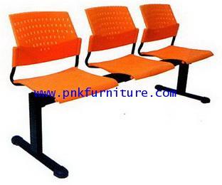 kkw8-10 เก้าอี้แถว ที่นั่งแบบโพลี โครงขาเหล็กสีดำ