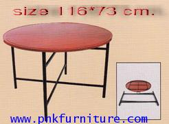 โต๊ะโรงอาหาร,โต๊ะกลมจีนขาถอด หน้าเหล็ก kkw2-18