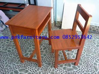โต๊ะเก้าอี้นักเรียนไม้สักทอง ระดับมัธยม kkw1-16