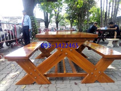 เก้าอี้สนาม,ม้านั่งสนาม,ชุดโต๊ะสนามไม้สักทอง ยาว 1.80เมตร kkw14-5 1