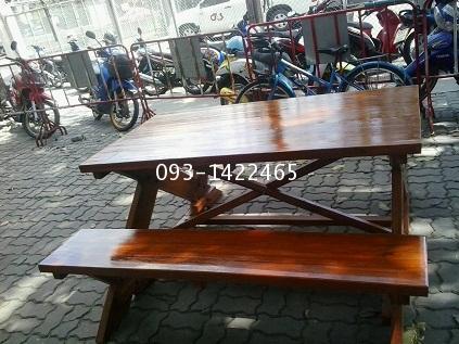 เก้าอี้สนาม,ม้านั่งสนาม,ชุดโต๊ะสนามไม้สักทอง ยาว 1.80เมตร kkw14-5 2