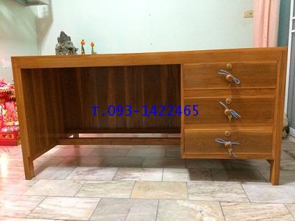 โต๊ะเก้าอี้นักเรียน โต๊ะทำงานไม้สัก kkw1-42 1