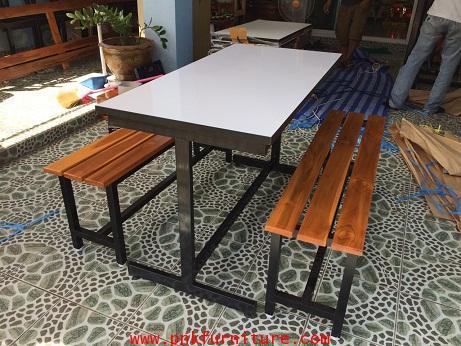 โต๊ะโรงอาหารไม้ระแนง ขาเหล็กรูปตัว I kkw2-4