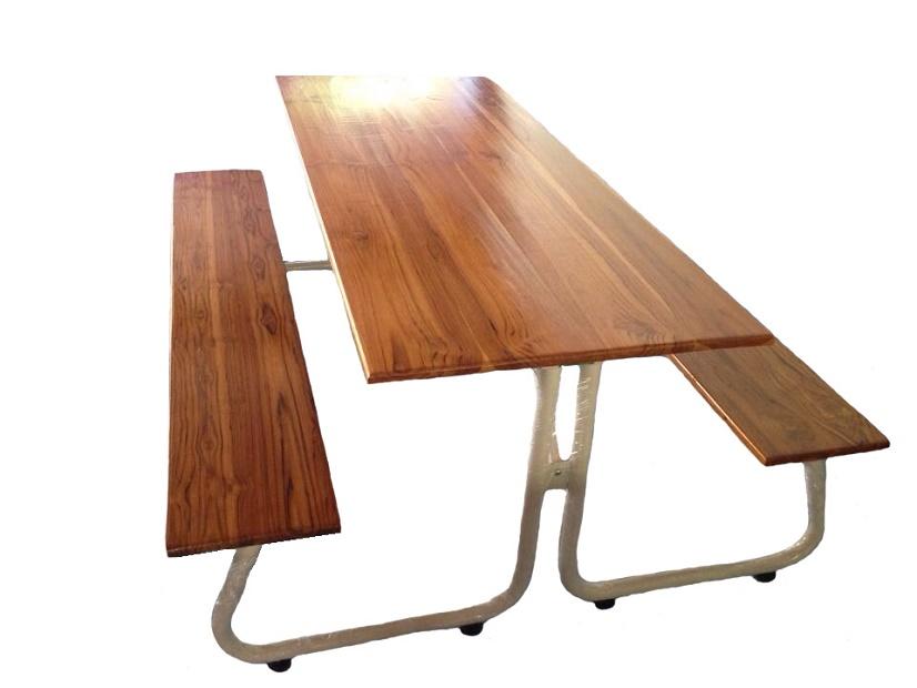 โต๊ะโรอาหารขา J หน้าไม้สักแผ่นเดียว ขนาด 180ซม. kkw23-2
