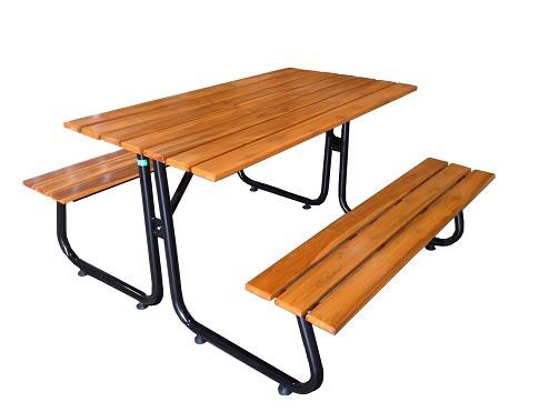 โต๊ะโรงอาหารขา J หน้าไม้สักตีระแนง ขนาด 120 ซม. kkw23-3