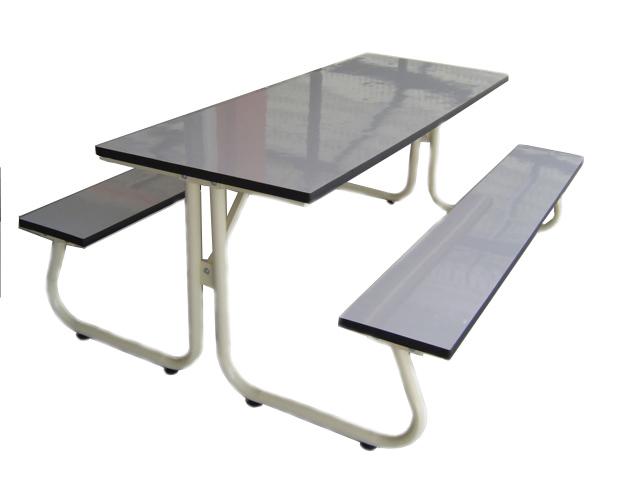 โต๊ะโรงอาหารขา J หน้าไม้โฟเมก้าขาวแบบตัน ขนาด 180ซม. kkw23-4