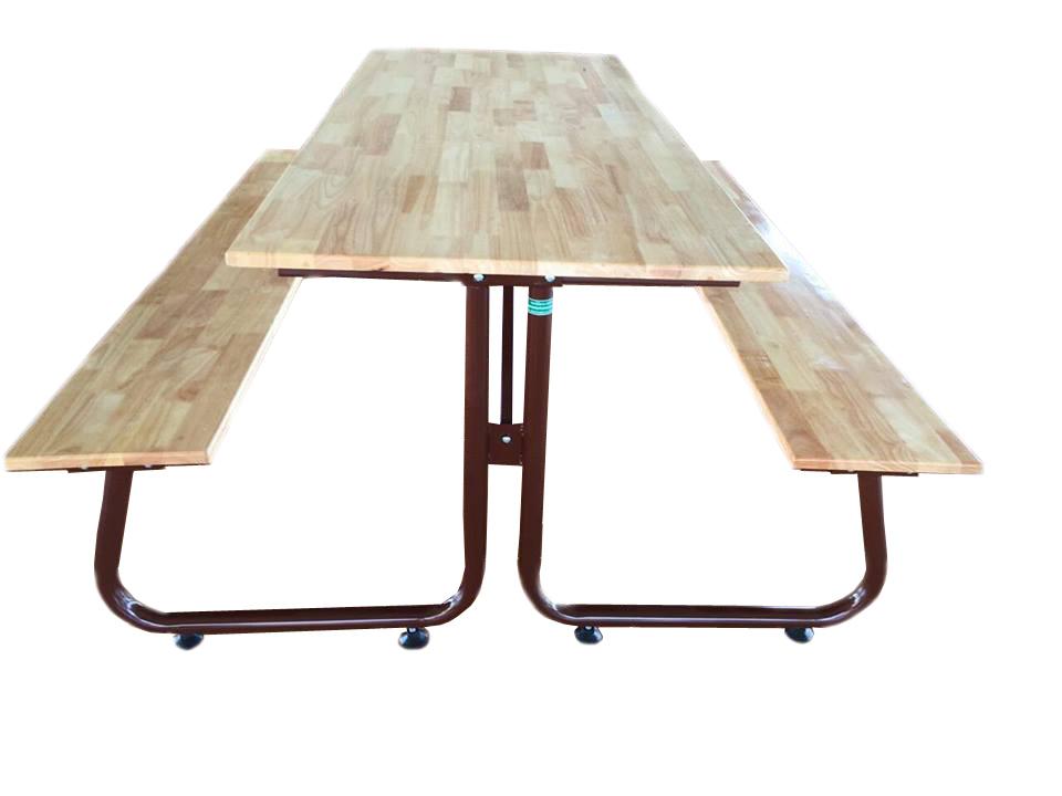 โต๊ะโรงอาหารขา J หน้าไม้ยางพาราประสานแผ่นเดียว ขนาด 180ซม. kkw23-6