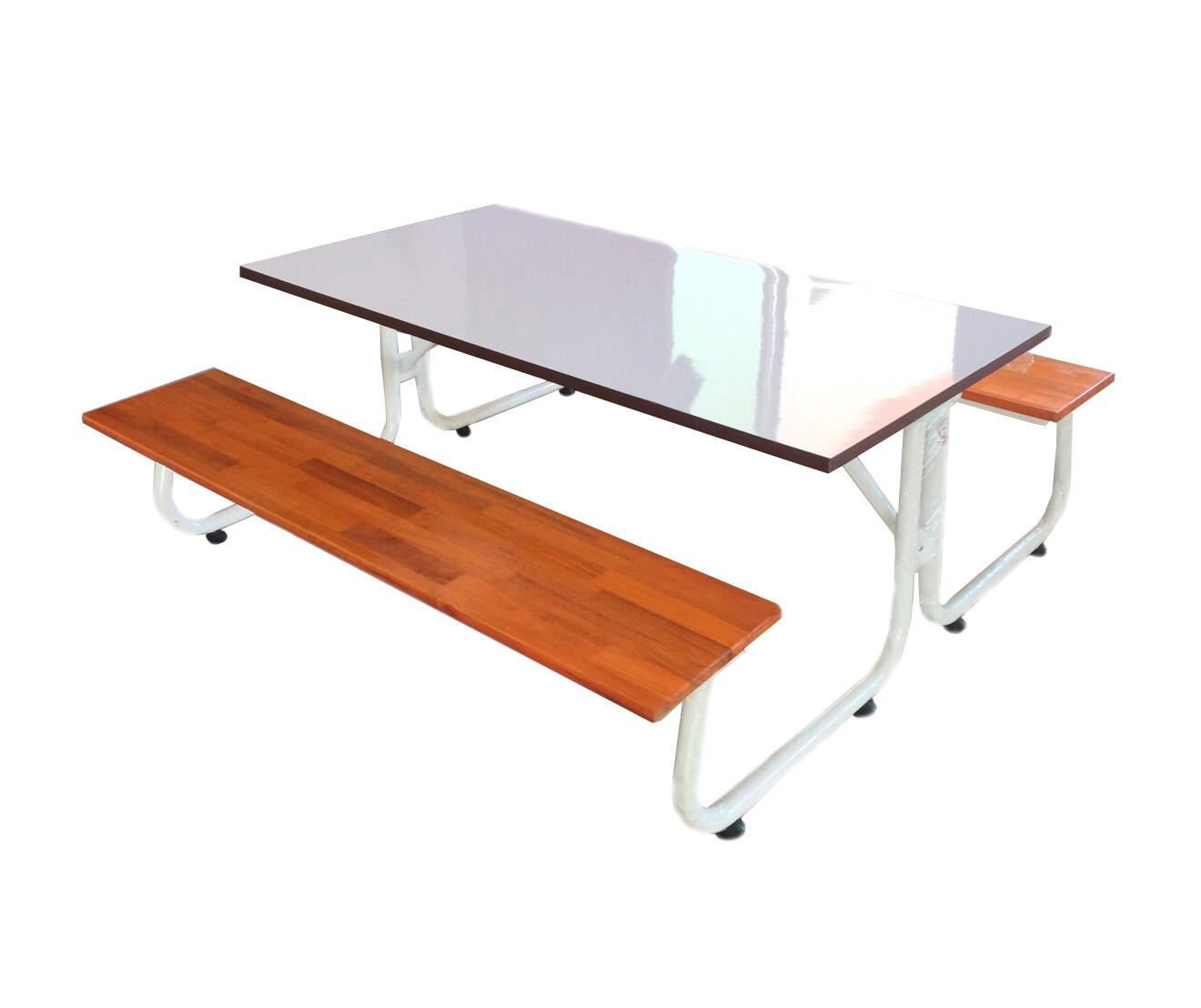 โต๊ะโรงอาหารขา J หน้าโต๊ะโฟเมก้าขาวแบบตัน ม้านั่งไม้ยางพาราแผ่นเดียว ยาว 180เมตร kkw23-7