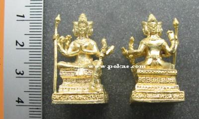 พระพรหมบันดาลโชคลอยองค์เนื้อทองทิพย์ปัดผิว หลวงพ่อวัลลภ วัดดอยแท่นพระผาหลวง เชียงใหม่