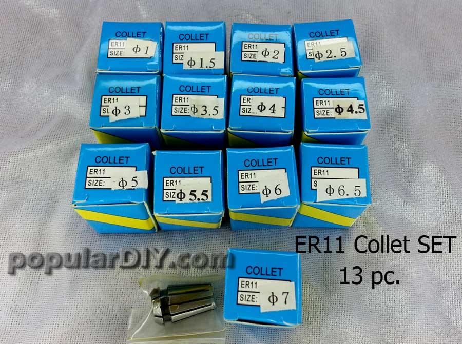 Collet ER11 ครบเซท มีทั้งหมด 13 ตัวต่อเซท
