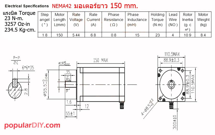 Step Motor Nema42 Torque 23 N-m.พร้อมไดรว Leadshine7.2A