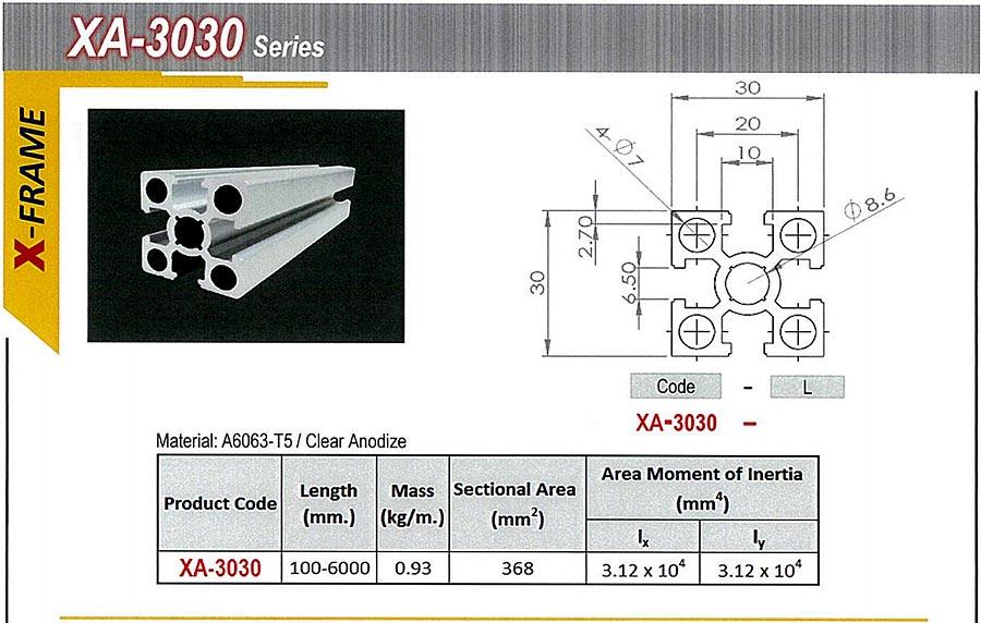 อลูมีเนียมโปรไฟล์ ขนาดหน้าตัดกว้าง 3030 รุ่นนี้ใข้น๊อตธรรมดาแทน T Nut ได้ aluminium profile