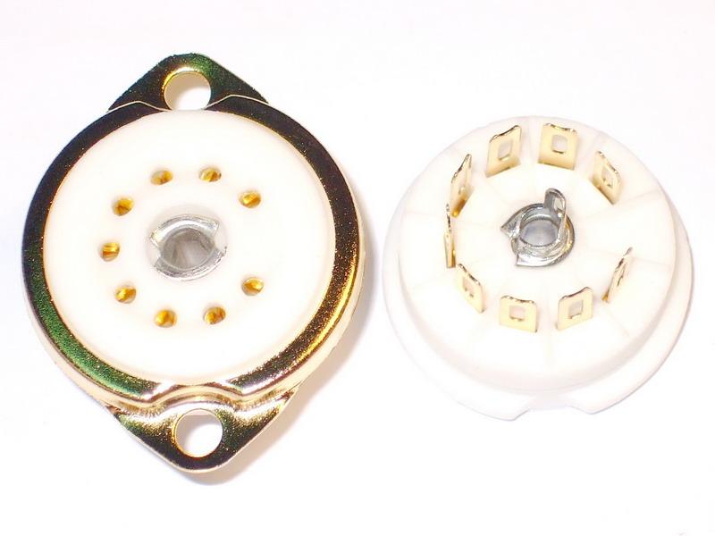 B9A Ceramic Socket 9 Pins Gold