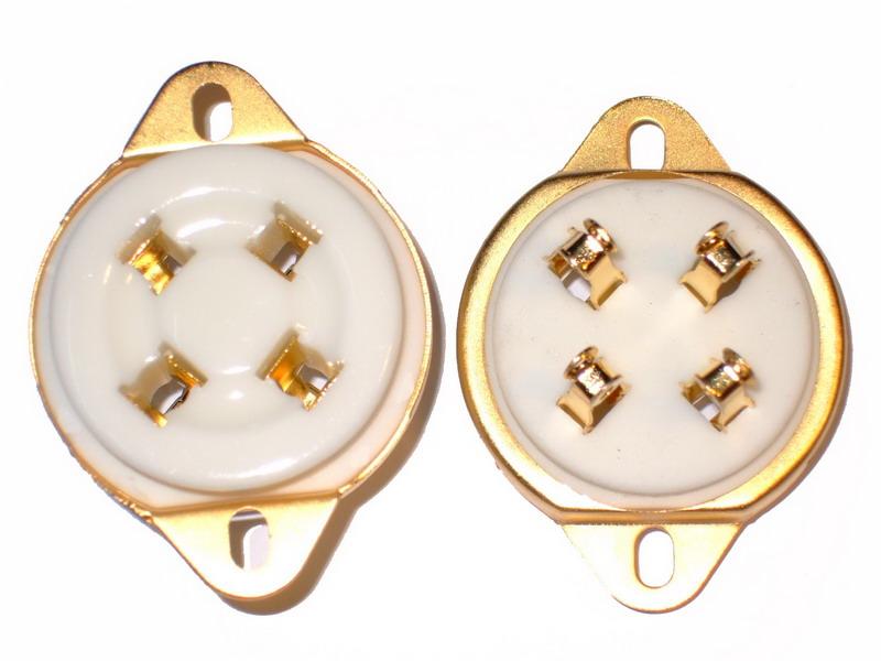 UX-4 Ceramic Socket 4 Pins Small Gold