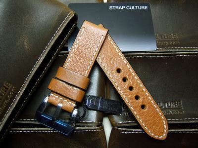 สายนาฬิกา Panerai SC Vetier Special Brown Calf w/ Beige Stitch 24/24 120/80
